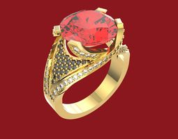 3D print model ring with ruby