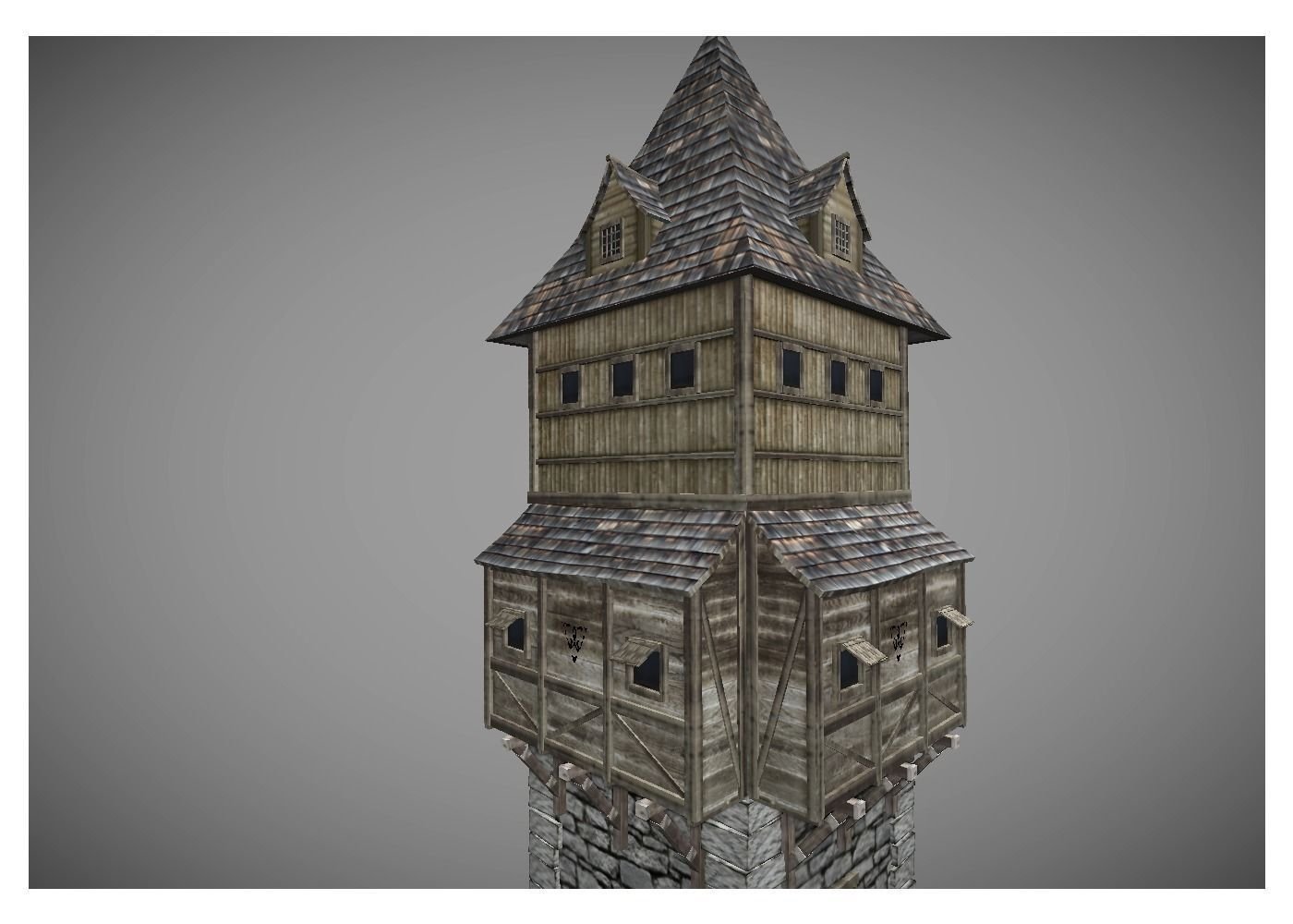 Low Poly Middle Ages Tower 2 Free 3d Model Game Ready Obj