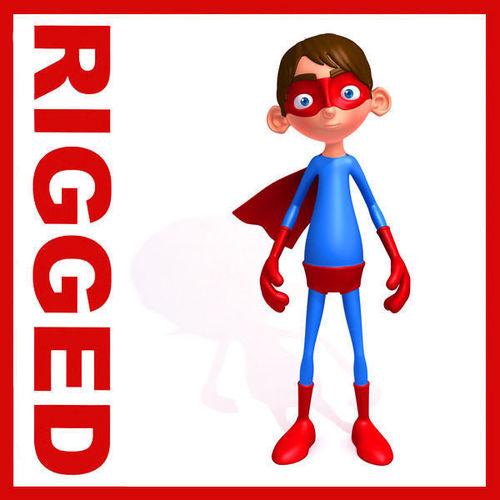 Superhero Cartoon Rigged3D model