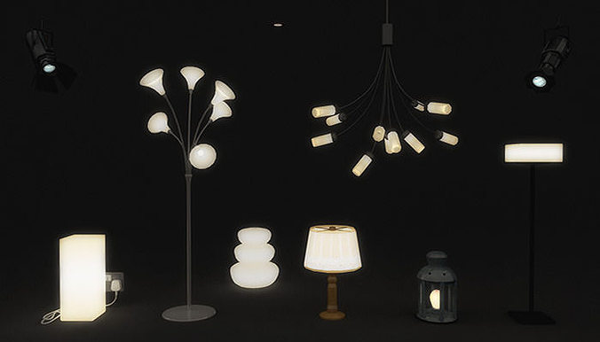 lamps and lights pack 3d model low-poly fbx ma mb 1