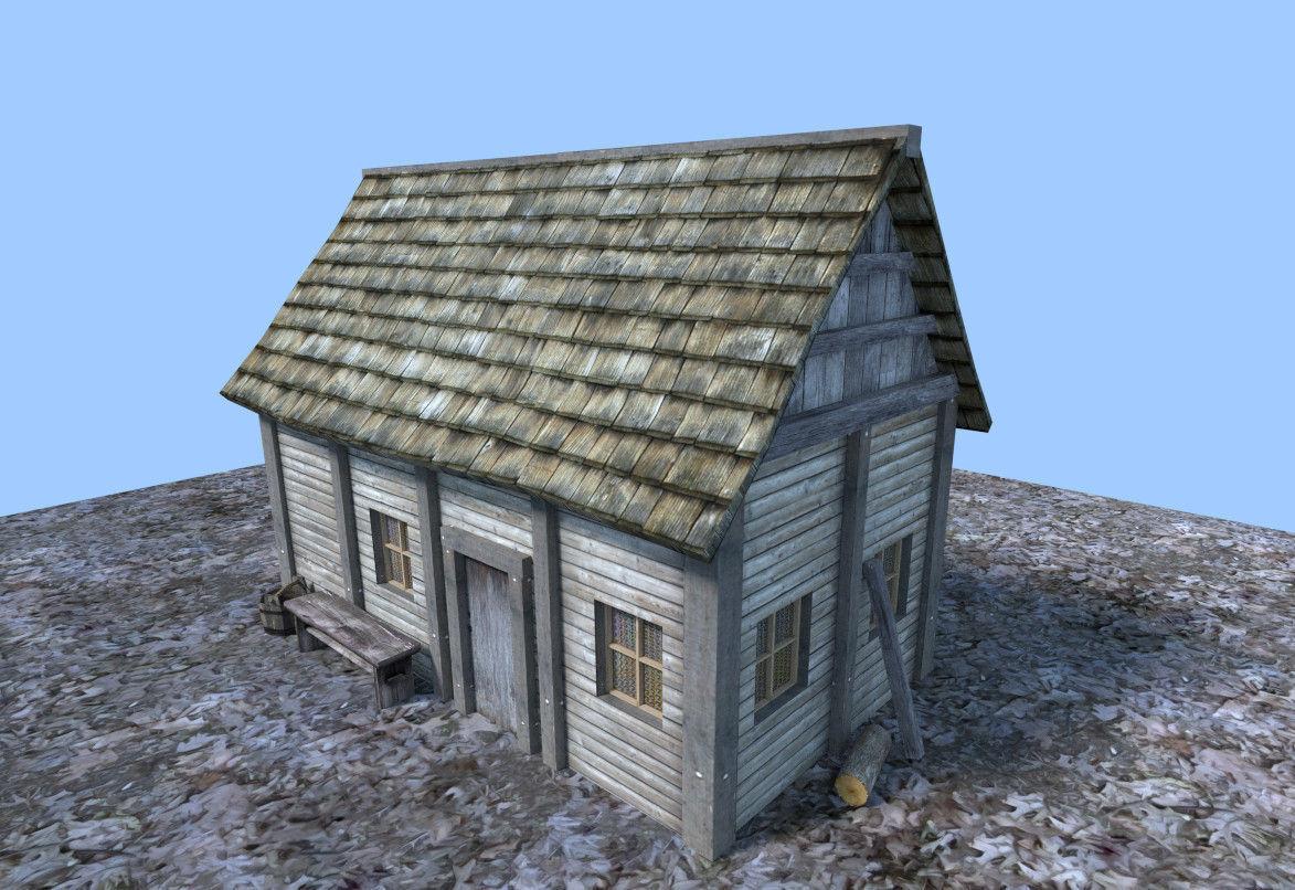 ... Medieval Wooden Hut 3d Model Low Poly Obj 3ds Fbx Blend Dae X3d 3 ...