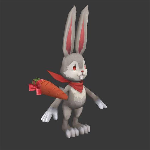 rabit Bunny Low Poly Cartoon3D model