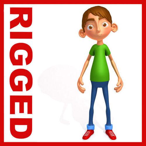 Ronnie cartoon guy rigged3D model