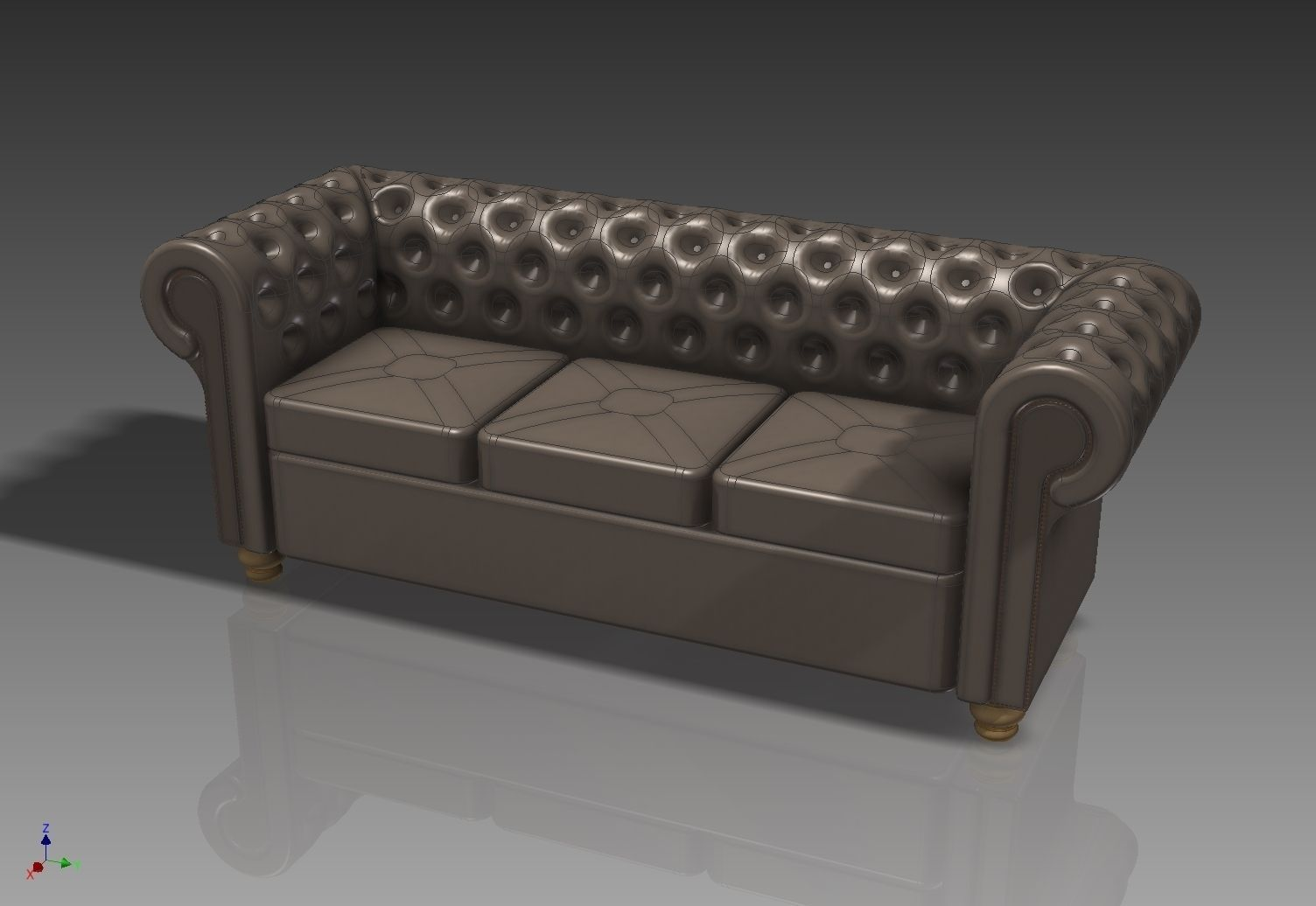 Chesterfield sofa 3d model max obj 3ds stl stp for Sofa 3d model