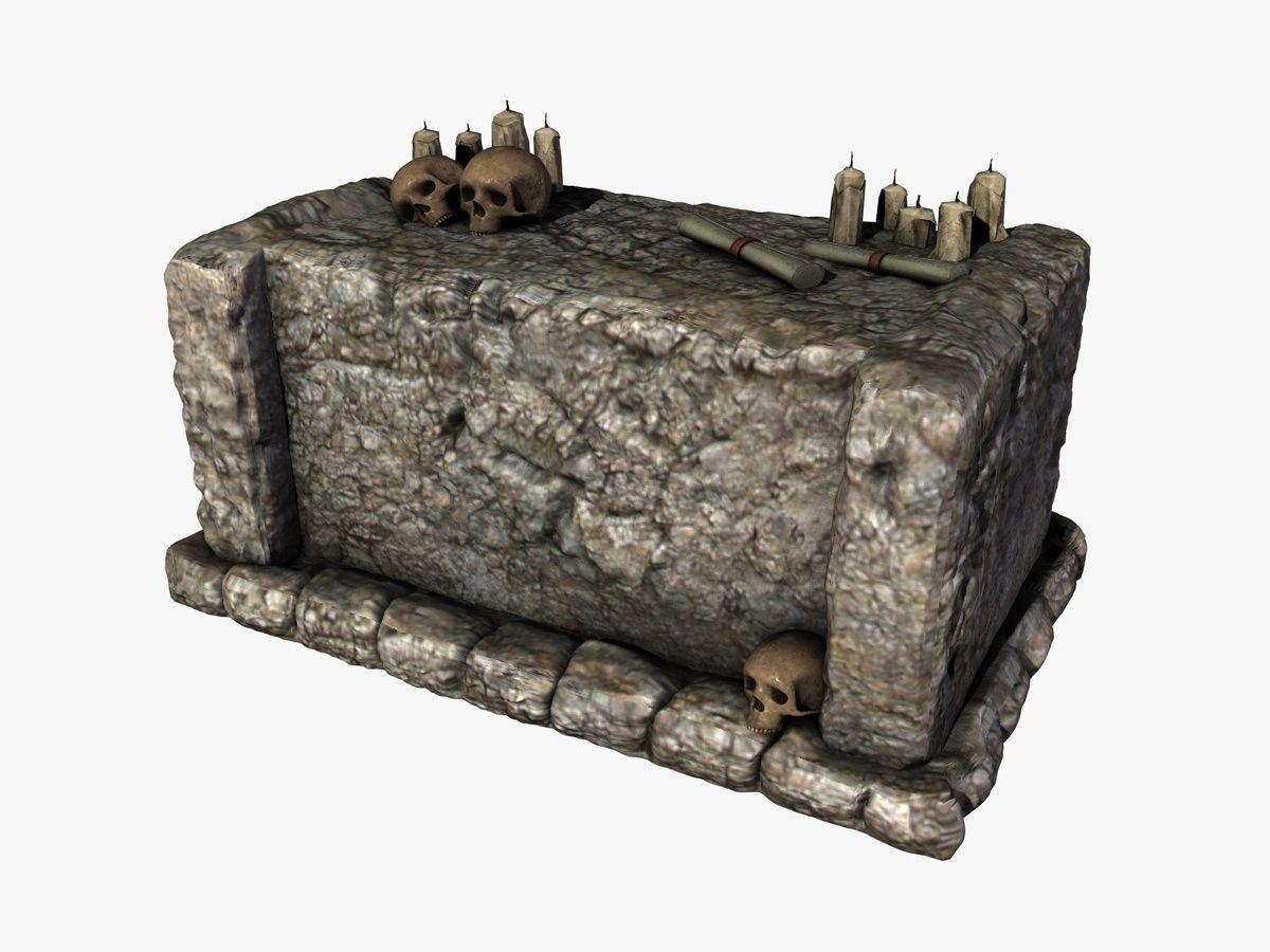 Stone altar with skulls