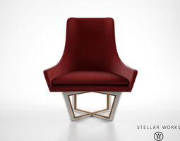 Stellar Works Open Privacy High Black Lounge Chair 3D Model
