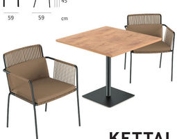 Kettal Net Dining Armchair and Table 3D Model