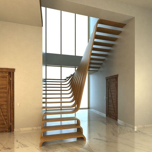 Creative wood stairs scene3D model