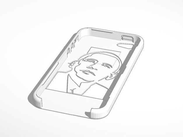 obama rounded with buttons iphone 5 case 3d model 3d