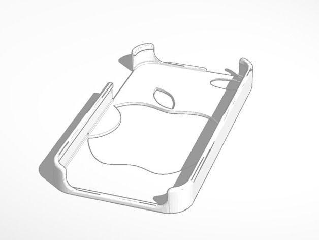 apple logo iphone 4 case 3d model 3d printable  stl