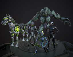 Scifi-Character-Set Lowpoly rigged 3D Model