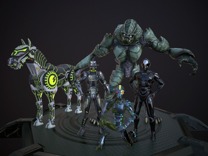Scifi-Character-Set Lowpoly rigged3D model