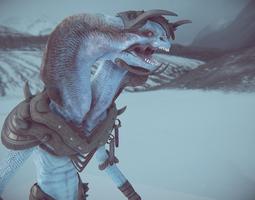 slizzard - ice lizard 3d model game-ready