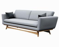 3d model low-poly sofa red edition scandinavian design