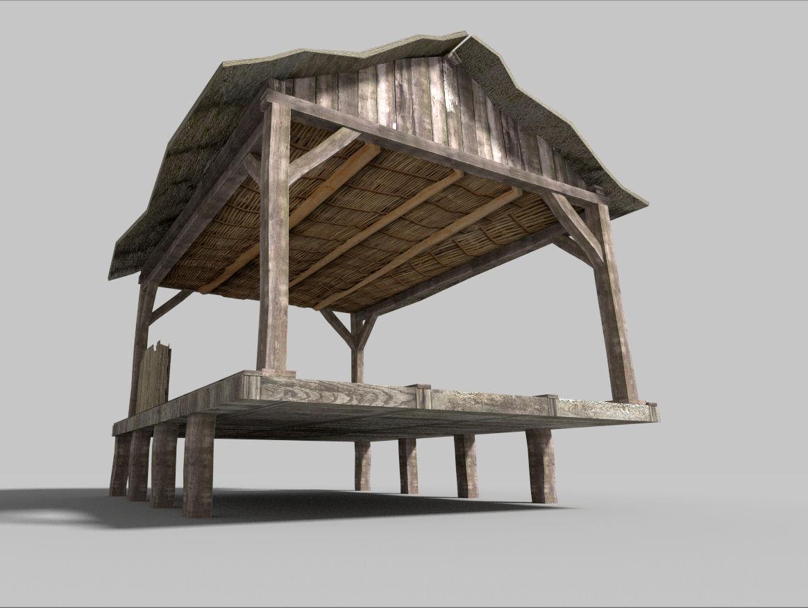 Beach wooden hut 3d model game ready obj 3ds fbx blend for Model beach huts