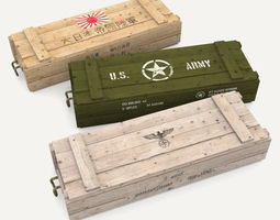 3D asset Army crates WWII collection