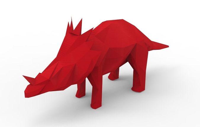 White Giant Rhino One Horn 3D Model3D model