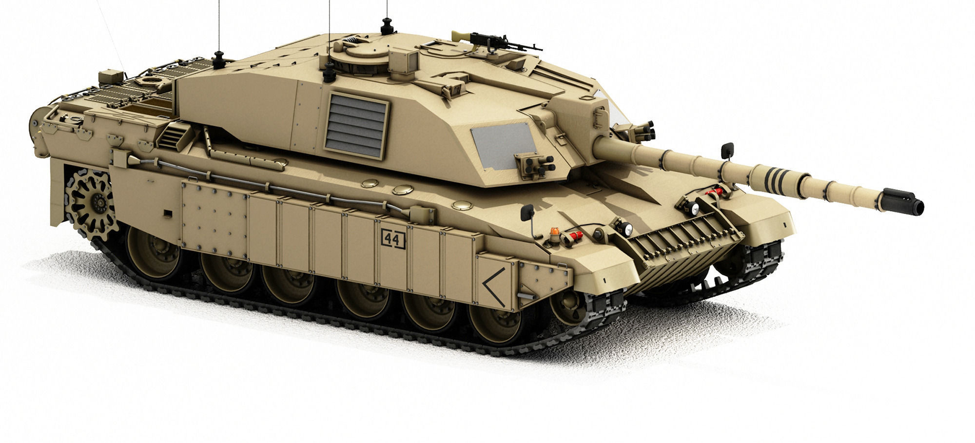 Challenger 2 British Army Tank With Desert 3d Model