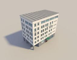 low poyl town flat house 3D Model