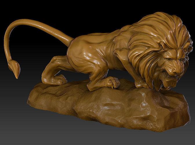 lion sculpture model 3d model ztl 1