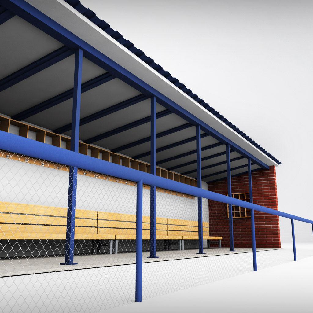 Baseball Stadium Dugout Bench 3d Model Max Obj 3ds Fbx Mtl