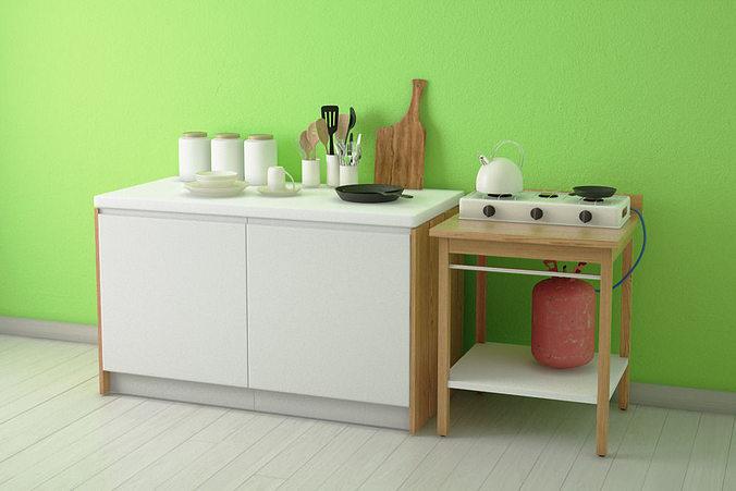 Kitchen ware set 3d model cgtrader for Kitchen set 3d warehouse