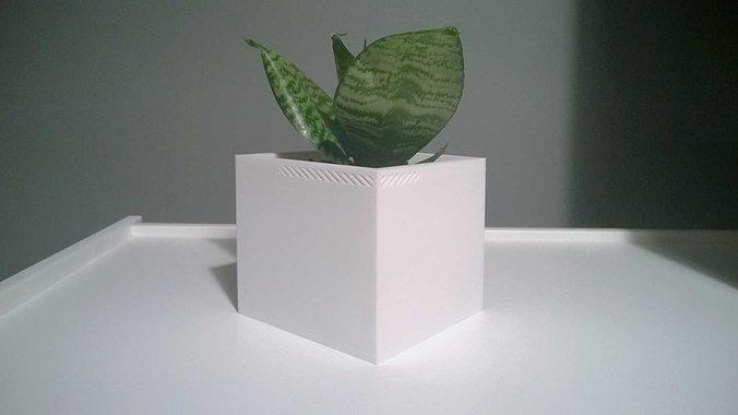 003f - planter - medium cuboid -  3d model stl 1