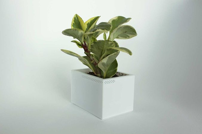 003h - planter - small rectangular -  3d model stl 1