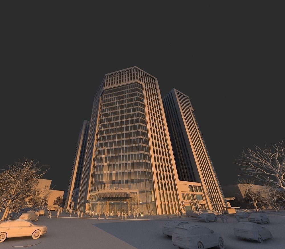 Dusk financial center building 3d model max for 3d max building