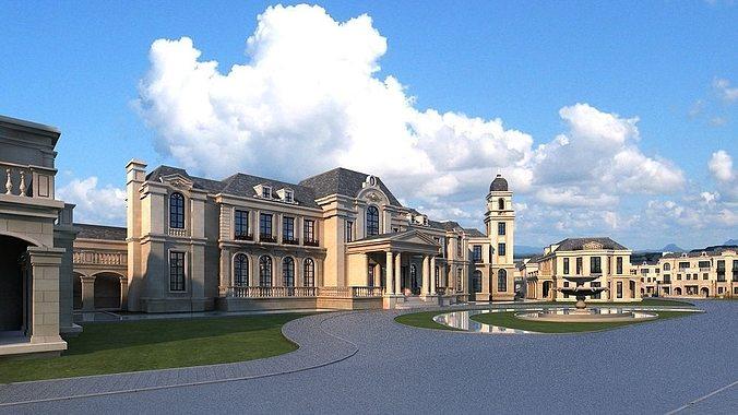 european classical castle 3d model max obj fbx mtl tga 1