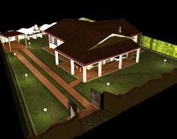 3D model Italian Bungalow - One Storey Villa