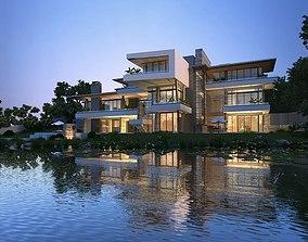 Modern stylish villa 3D model