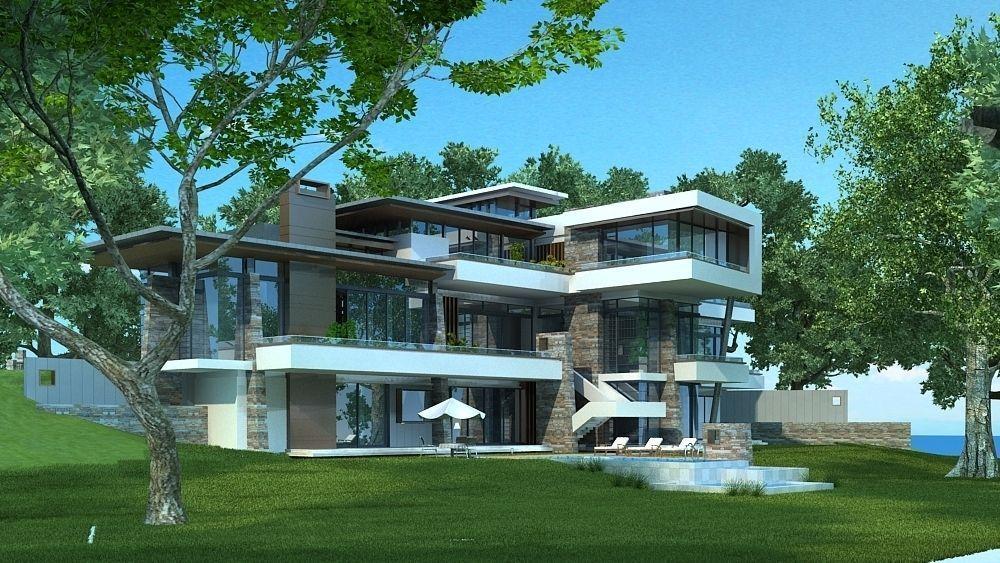 modern stylish villa 3d model max. Black Bedroom Furniture Sets. Home Design Ideas