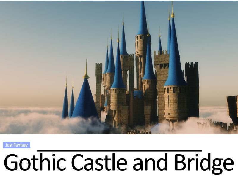Gothic castle and gothic bridge 3d model vue for Architecture 3d vue 3d