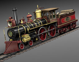 Union Pacific 119 Steam Train 1868 3D Model