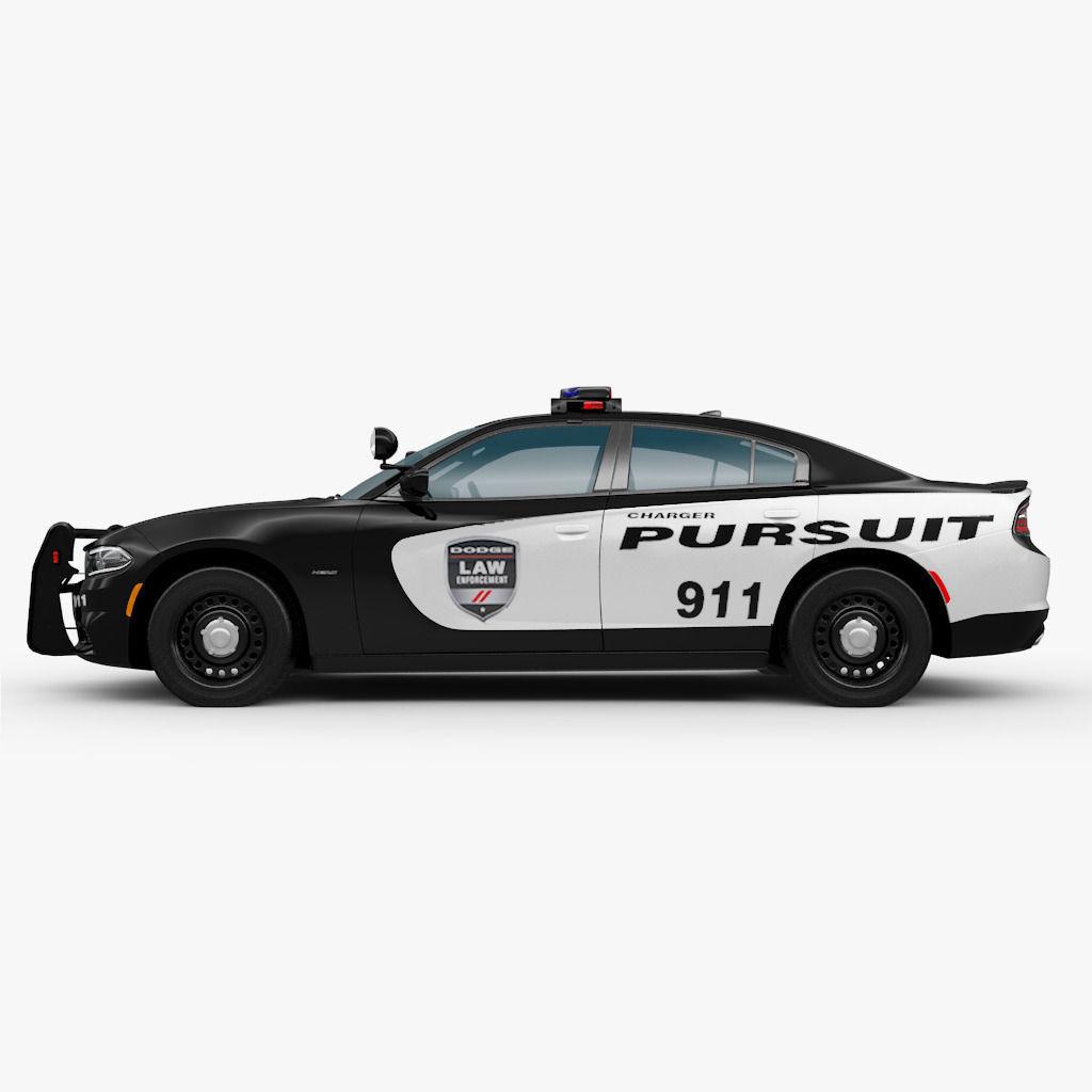 Dodge Charger 2015 Police 3D Model .max .obj .3ds .fbx