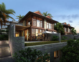 Southeast Asia villa 3D model