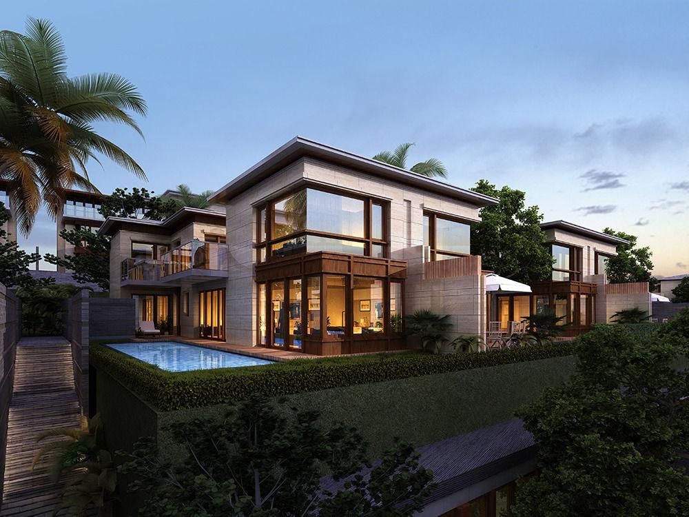 Tropical villa 3d model max for Villas 3d model