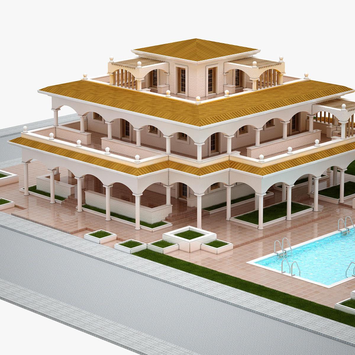 Villa 004 3d model max fbx for Villas 3d model