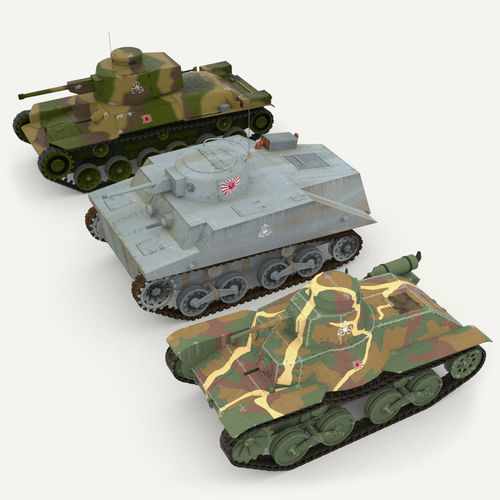 Japanes tanks collection3D model