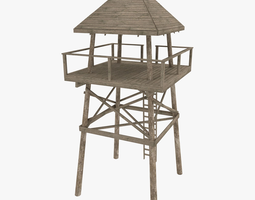 low-poly look out tower 3d model