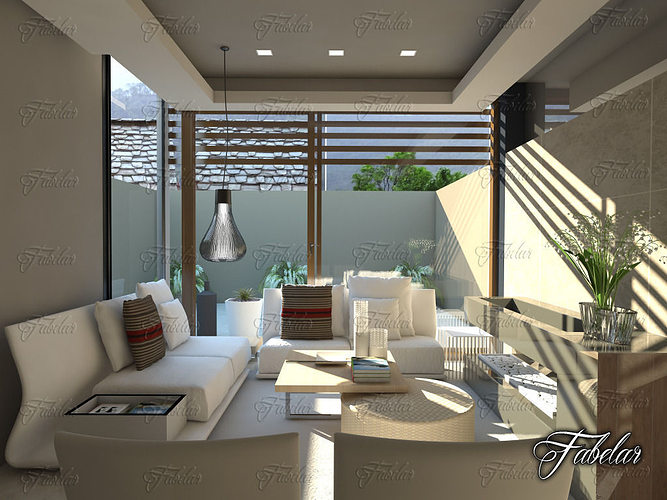Living room 27 3d model max obj 3ds fbx c4d dae for Living room cinema 4d
