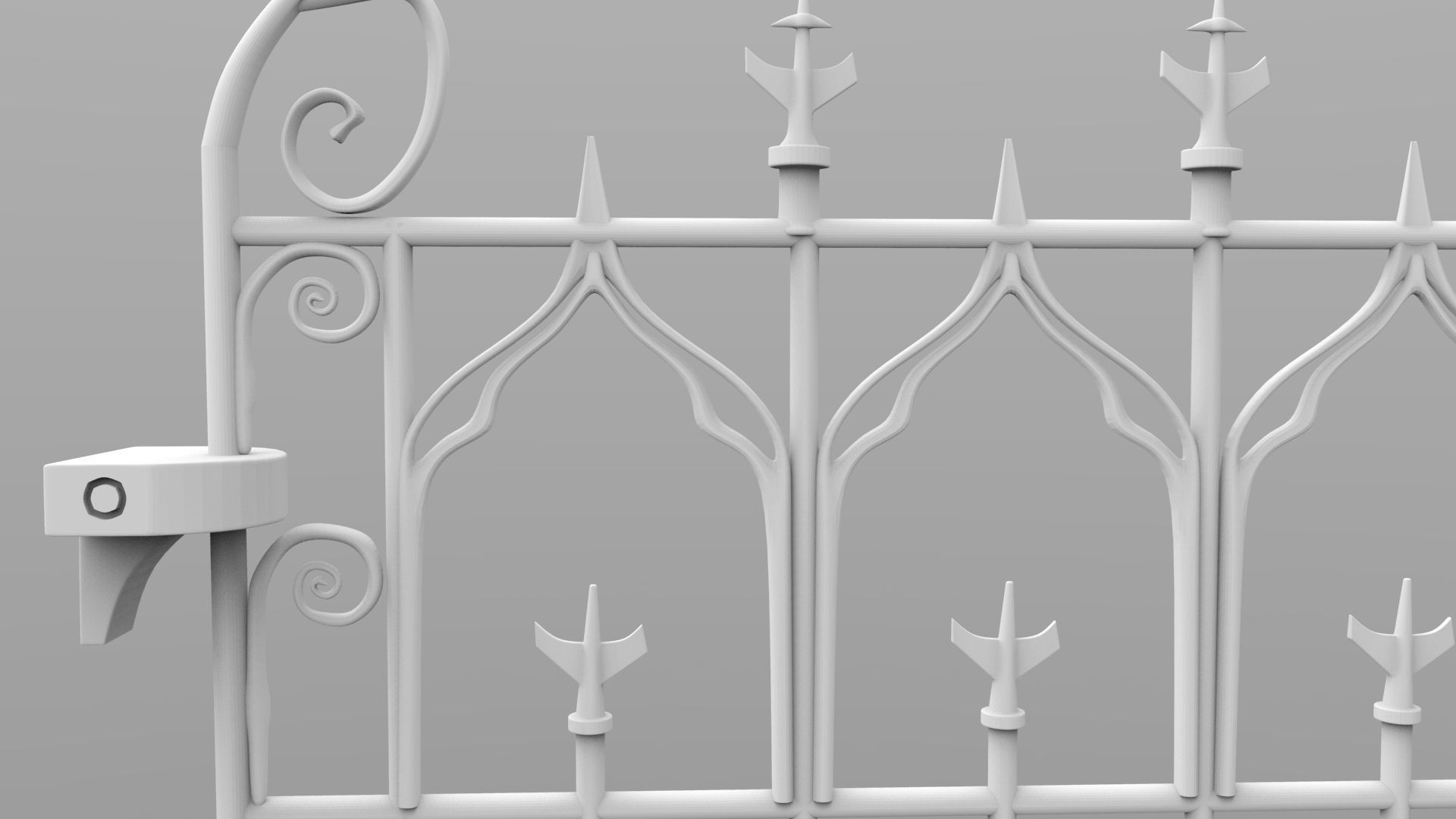 weathered column and gate 3d model 3d printable stl
