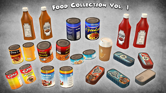 food collection vol 1 3d model low-poly max obj mtl 3ds fbx dxf dae 1