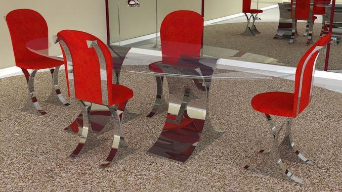 Contemporary Dining Room Set3D model