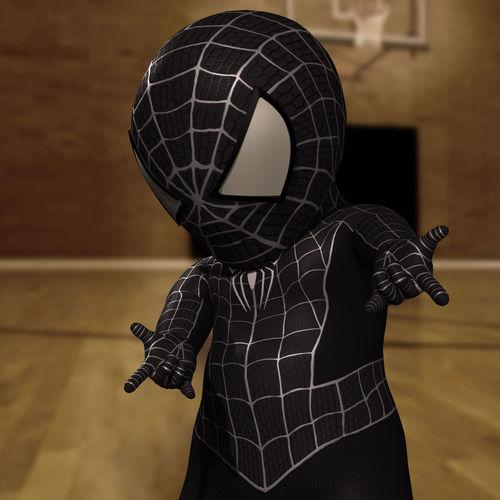 Spider-Baby - Black- Rigged -3D model