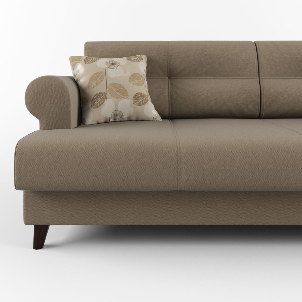 Sofa With Cushions And Round Armrests 3d Model Max Obj Fbx
