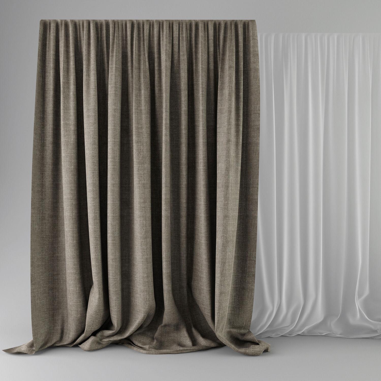 Beige Curtains 3d Model Max 3ds Fbx 1