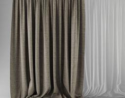 3D model Beige Curtains