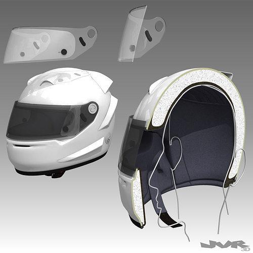 car helmet cutaway 3d model max obj 3ds fbx mtl pdf 1